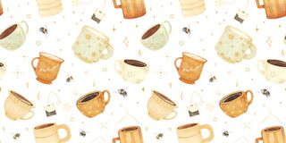 Free Watercolor Hand Drawn Cute Vintage Tea Coffee, Milk Seamless Pattern With Illustration Of Vintage Ceramic Cup, Mug Royalty Free Stock Photography - 225142837