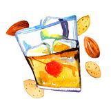 Watercolor hand drawn expressive illustration with glass of amaretto liquor and almonds stock illustration