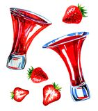 Watercolor hand drawn expressive illustration with glasses of strawberry liqueur and strawberries vector illustration