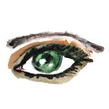 Watercolor hand drawn eye. Make up. Stock Images