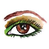 Watercolor hand drawn eye. Make up. Royalty Free Stock Image