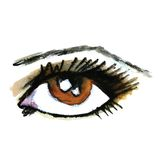 Watercolor hand drawn eye. Make up. Royalty Free Stock Images