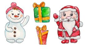 Watercolor hand drawn fabulous Christmas characters set stock illustration