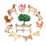 Watercolor hand drawn farm animals and objects in the round. Barn. tree, grass, fence, hen,chicken,rooster,dog,sheeps,pig,cowcat, stock illustration