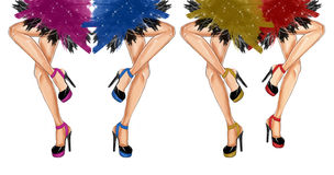Watercolor hand drawn fashion Illustration of dancing legs Stock Images