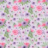Watercolor Hand drawn Floral Arrangement Background Seamless Pattern royalty free illustration
