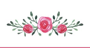 Watercolor hand drawn floral composition Royalty Free Stock Photo