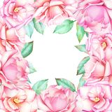 Watercolor hand drawn floral frame with pink roses. stock illustration