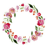 Watercolor Hand-drawn Flower Wreath For Design. Artistic Isolated Illustration. Stock Images