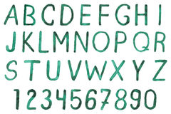 Watercolor hand drawn font: alphabet and numbers. Vector illustration with watercolor hand drawn font: alphabet and numbers Royalty Free Stock Photo
