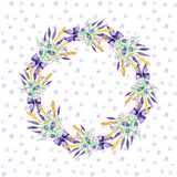 Watercolor hand drawn frame. Wreath. Card. Flowers, herbs and leaves. Lavender and chamomile. Collection. Watercolor hand drawn frame. Wreath. Card. Flowers royalty free illustration