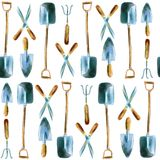 Watercolor hand drawn garden tools seamless pattern royalty free stock photography