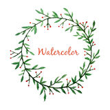 Watercolor hand drawn green floral vector frame Stock Photos