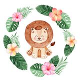 Watercolor hand drawn happy lion in tropical wreath with flowers and palm leaves isolated on white background