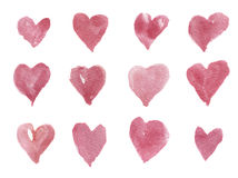 Watercolor hand-drawn hearts for design, background and textile. Artistic isolated illustration. royalty free stock photo