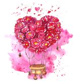 Watercolor hand drawn hot air balloon with heart of flowers stock illustration