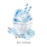 Watercolor hand drawn ice cream. Isolated dessert illustration on white background. Watercolor hand drawn ice cream. Isolated dessert illustration Royalty Free Stock Images