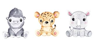 Watercolor hand-drawn illustration with cute baby gorilla, leopard and rhinoceros. Funny animal great for fabric and