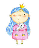 Watercolor hand drawn illustration with cute little princess and cat. Watercolor hand drawn illustration with cute little princess and cat Royalty Free Stock Image