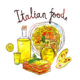 Watercolor Hand Drawn Illustration Of Italian Food Stock Images