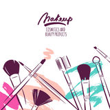 Watercolor hand drawn illustration of makeup brushes on colorful grunge background. Royalty Free Stock Photography