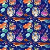 Watercolor hand drawn illustration mermaid and fish. Seamless pattern. Watercolor hand drawn illustration mermaid and fish Vector Illustration