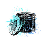 Watercolor Hand drawn jar with black caviar. Royalty Free Stock Photo