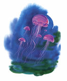 Watercolor Hand drawn jellyfish at Sea.  Royalty Free Stock Photo
