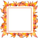 Watercolor Hand drawn Leaves Frame Background royalty free illustration