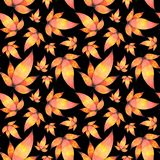 Watercolor Hand drawn Leaves Seamless Pattern Background stock illustration