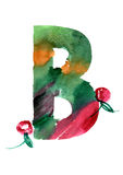 Watercolor hand drawn the letter B. With berries. ABC. Monogram royalty free illustration