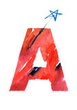 Watercolor hand drawn the letter A. In red colors with blue star. ABC. Monogram vector illustration