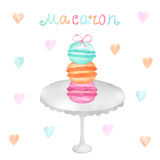 Watercolor Hand drawn macarons Stock Photos