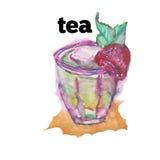 Watercolor hand drawn painted tea illustration. Menu design. Leaf Stock Images