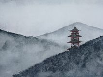 Watercolor hand drawn painting landscape pagoda mountain in the fog. stock illustration