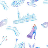 Watercolor hand drawn painting with venetian Rialto bridge, Saint Mark place and a couple of lovers Stock Photography