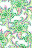Watercolor hand drawn paisley. seamless pattern. Amazing colorful seamless paisley pattern, with beautiful hand drawn illustration. isolated elements on white Stock Photography