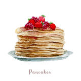 Watercolor hand drawn pancakes.  dessert illustration on white background Stock Images