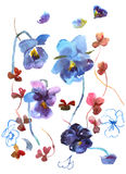 Watercolor hand drawn pansies isolated on white background. Flor. Al birthday card royalty free illustration