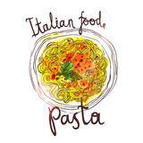 Watercolor Hand Drawn Pasta Stock Photography