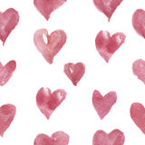 Watercolor hand-drawn pattern with hearts. For design, background and textile. Royalty Free Stock Photo
