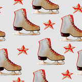 Watercolor hand drawn pattern with ice skates and red stars. Stock Photography