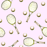 Watercolor hand drawn pattern with tennis rackets and balls. Stock Photography
