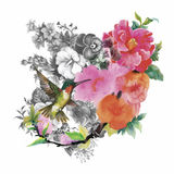 Watercolor hand drawn pattern with tropical summer flowers of and exotic birds Royalty Free Stock Image