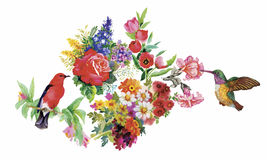 Watercolor hand drawn pattern with tropical summer flowers of and exotic birds Stock Images
