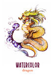 Watercolor hand drawn portrait of chinese dragon Royalty Free Stock Images