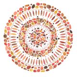 Watercolor hand drawn red mandala mosaic ornament Stock Photography