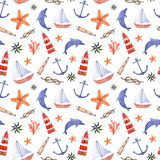 Watercolor hand drawn sea nautical seamless pattern. Watercolor hand drawn  seamless pattern with anchor, dolphin, knot, swimming goggles, sea star and Stock Photos