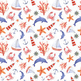Watercolor hand drawn sea nautical seamless pattern. Watercolor hand drawn isolated seamless pattern with crab, anchor, dolphin, swimming goggles, sea star and Stock Photography