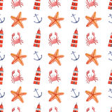 Watercolor hand drawn sea nautical seamless pattern. Watercolor hand drawn isolated seamless pattern with crab, anchor, sea star and lighthouse. Colorful hand Royalty Free Stock Images